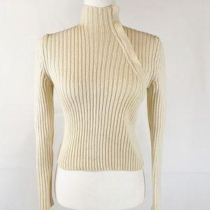MAX MARA asymmetrical zip mock neck knit sweater